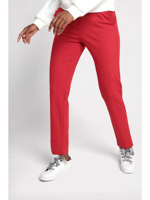 Pantalon city slim a volants rouge femme