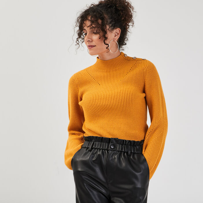 Pull manches bouffantes jaune moutarde femme