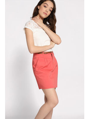 Jupe chino courte ceinture rose corail femme