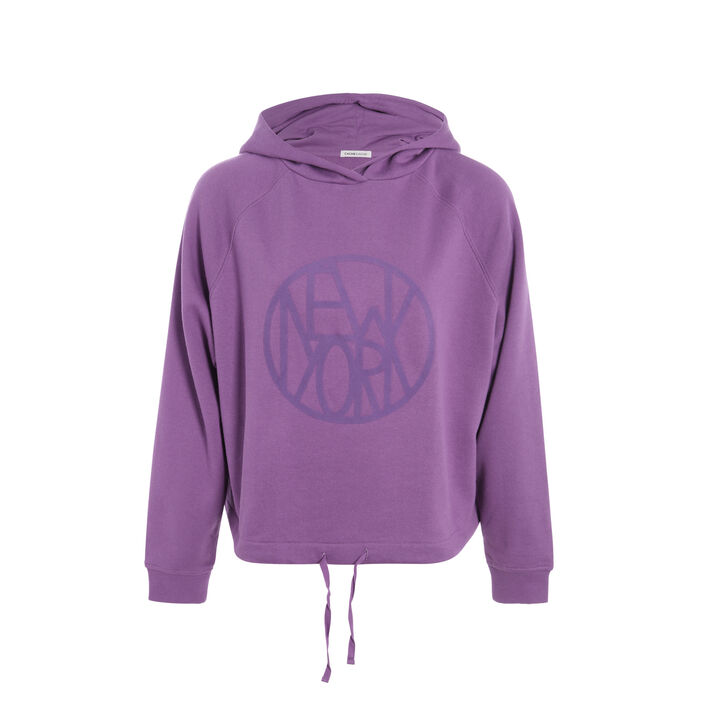 Sweat capuche taille coulisse violet femme