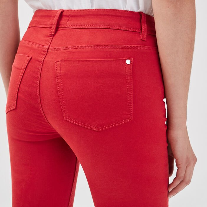 Jeans slim 5 poches rouge femme