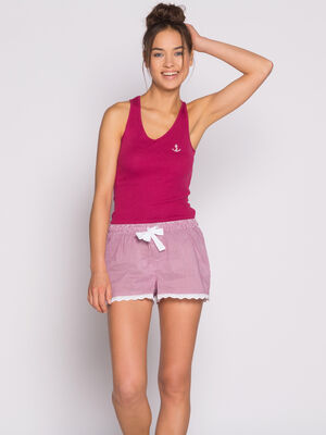 Short rayures et broderie anglaise rouge femme