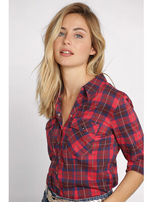 Chemise manches longues rouge femme