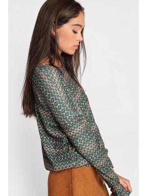 Pull manches longues col rond vert kaki femme