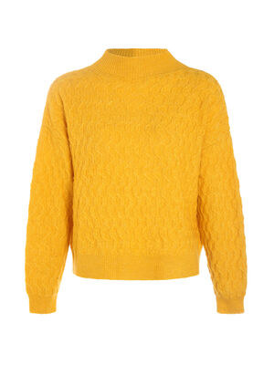 Pull manches longues jaune fonce femme