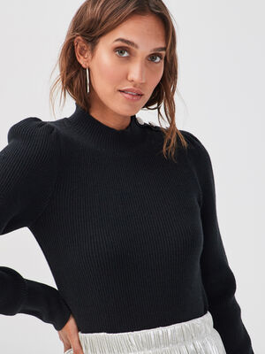 Pull manches longues gigots noir femme