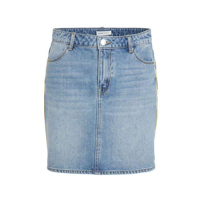 Jupe droite taille standard denim double stone femme