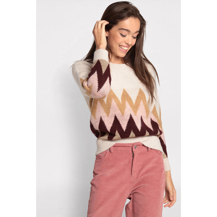 Pull manches longues col rond sable femme