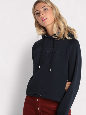 Sweat taille a coulisse bleu marine femme