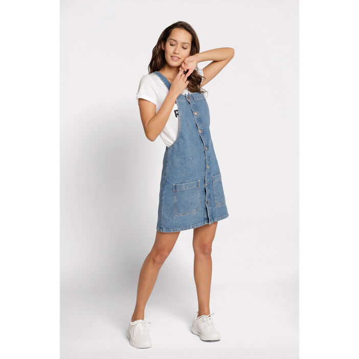 énorme réduction 1557b e5308 Robe salopette trapèze denim stone femme | Cache Cache