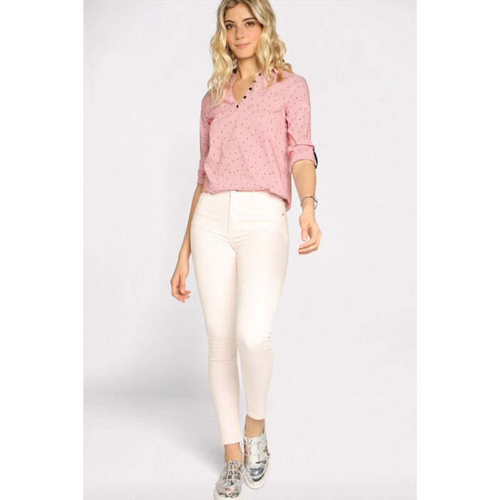 Jeans skinny taille haute rose clair femme