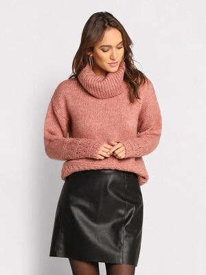 Pull col roule details ajoures rose femme