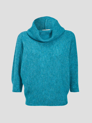 Pull long col chale vert turquoise femme