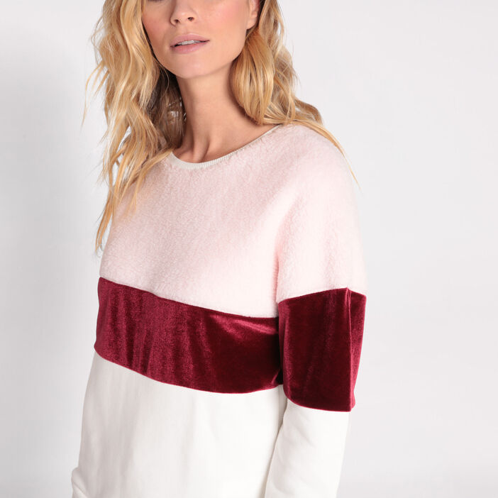 Sweat manches longues bandes rose clair femme