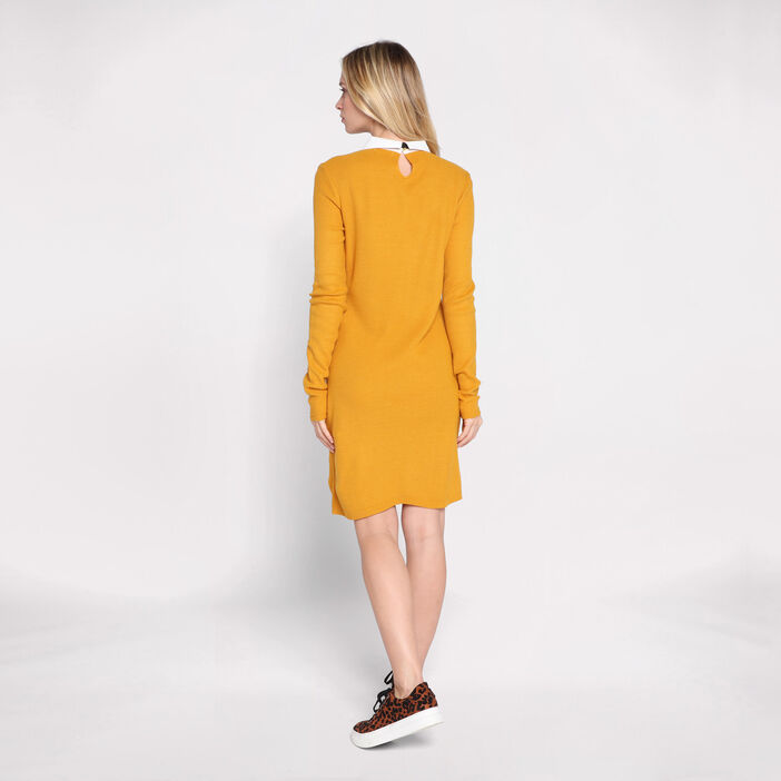 Robe droite à col claudine jaune moutarde femme