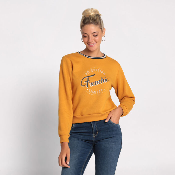 Sweat manches longues col rond jaune moutarde femme