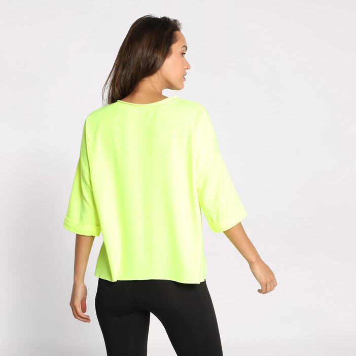 Sweat manches courtes col rond jaune femme