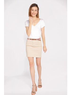 Jupe droite taille standard beige femme