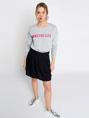 Sweat a message rebelle gris clair femme
