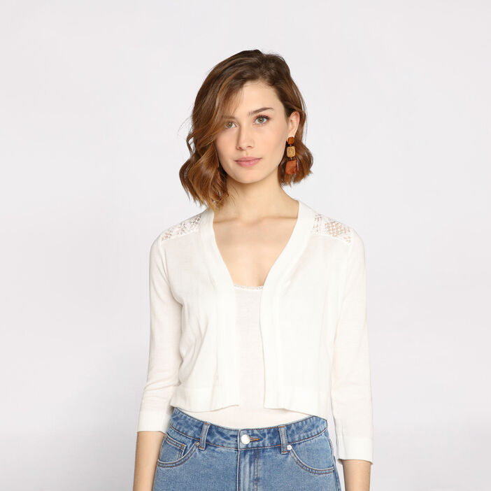 Gilet manches longues cropped  femme