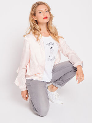 Veste teddy irisee a volant rose clair femme