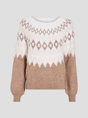 Pull manches longues taupe femme