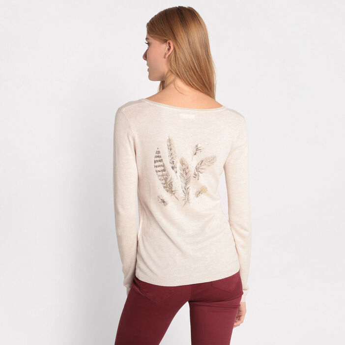 Pull plumes manches longues sable femme