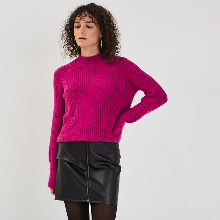 Pull manches bouffantes violet clair femme