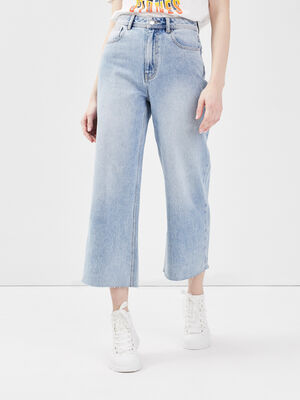 Jeans large denim bleach femme