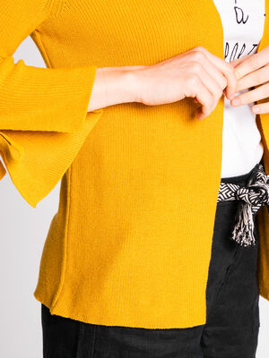 Gilet maille manches avec lacage jaune or femme
