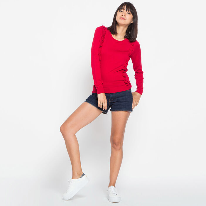 Pull volants fente dos rouge femme