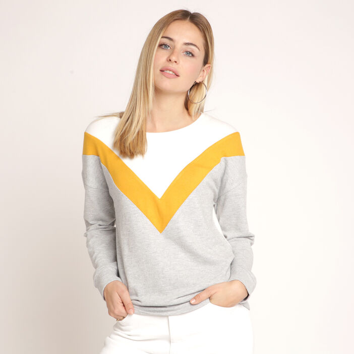 Sweat manches longues col rond jaune or femme