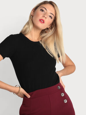 Pull manches courtes col rond noir femme