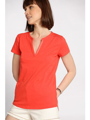 T shirt col tunisien orange corail femme