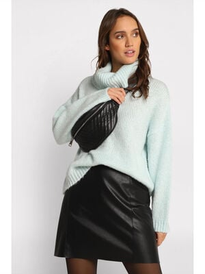 Pull col roule ample vert pastel femme