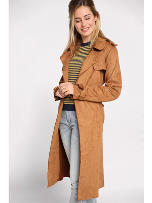 Trench long ceinture suede creme femme