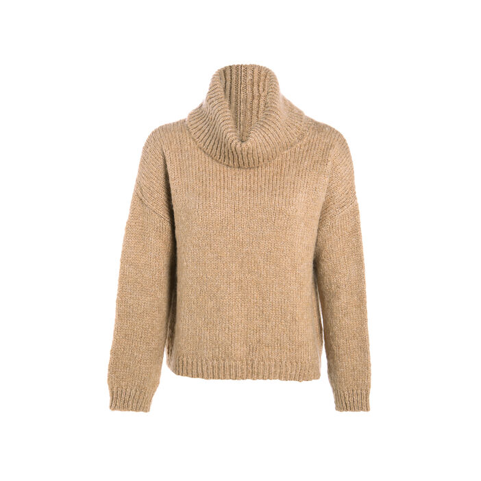 Pull col roulé ample beige femme