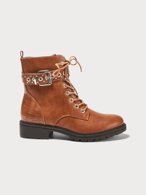 Bottines plates bande oeillets marron femme