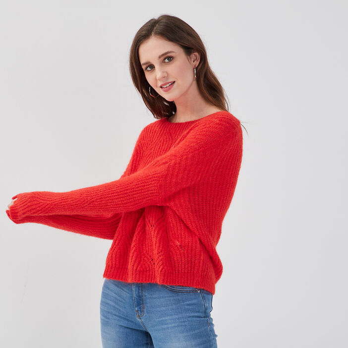 Pull ajouré col rond rouge fluo femme