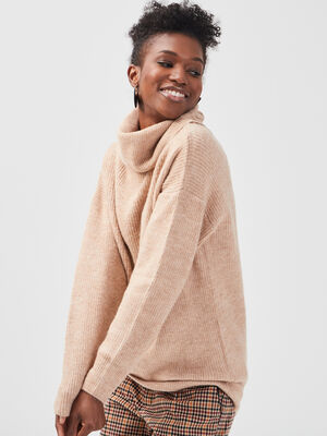 Pull col roule creme femme