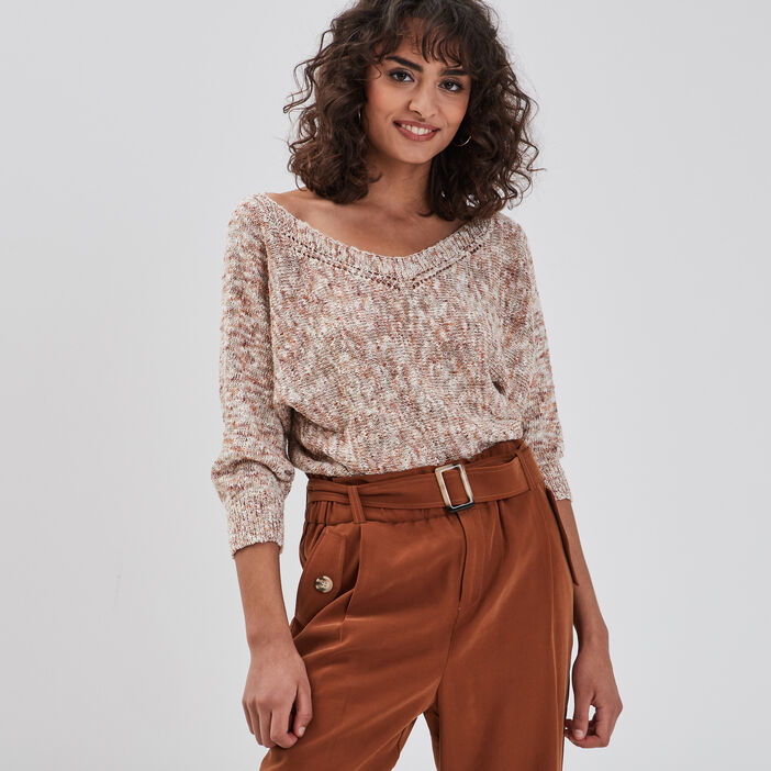 Pull manches 3/4 rose clair femme