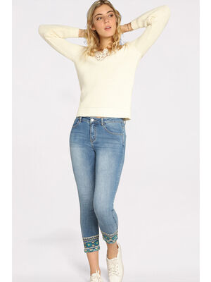 Jeans slim 78 brode denim double stone femme