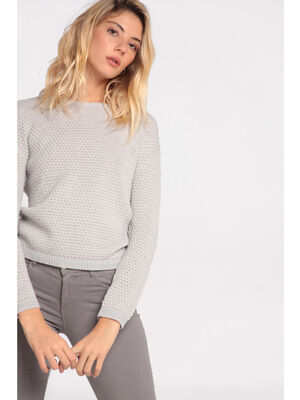 Pull manches longues a boutons gris clair femme