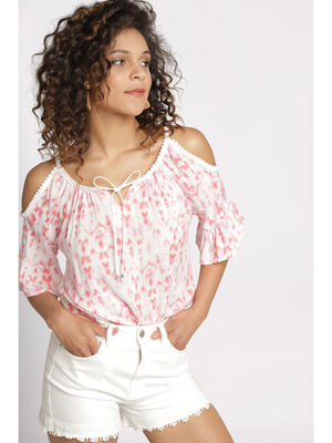 T shirt manches 34 a volant rose framboise femme