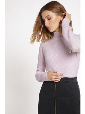 Pull manches longues maille a cotes violet clair femme