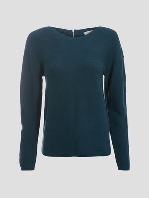 Pull manches longues dos zippe vert fonce femme