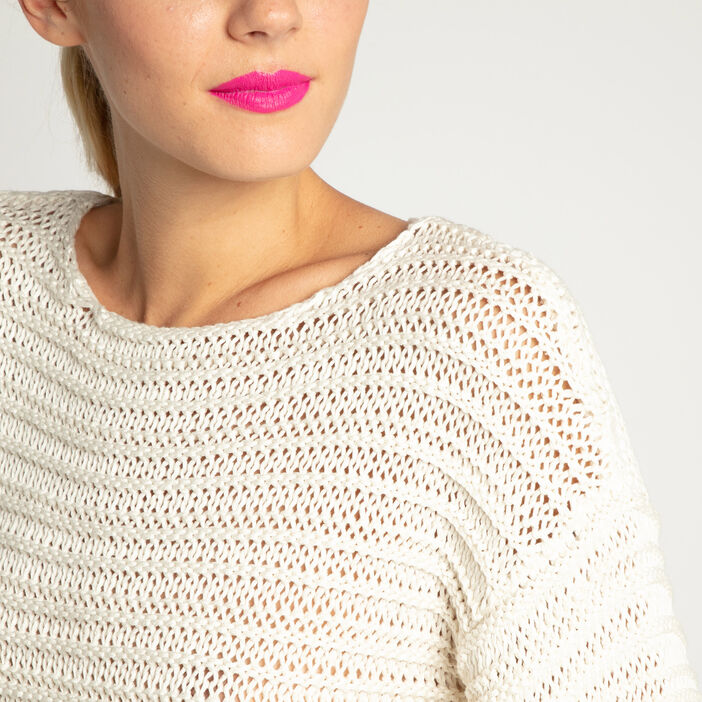 Pull manches pagode maille ajourée ecru femme