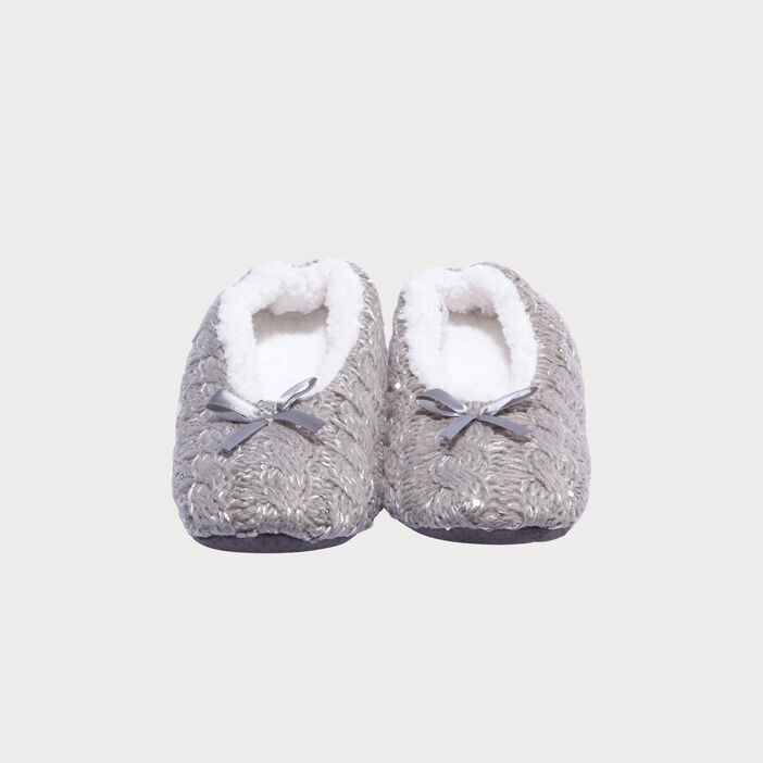 Chaussons ballerines gris clair femme