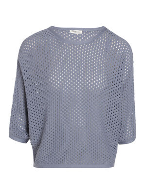 Pull manches 34 maille ajouree bleu femme