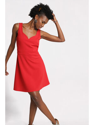 Robe patineuse decollete cur rouge femme
